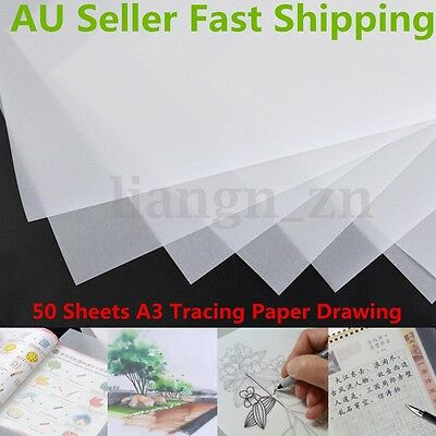 100 Sheets 112gsm A3 Tracing Paper Translucent Craft Drawing Copying Calligraphy