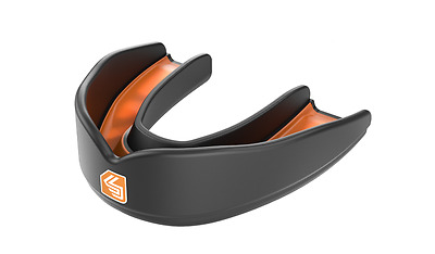 Shock Doctor Ultra Rugby Mouth Guard Gum Shield Black Orange Boxing Martial Arts