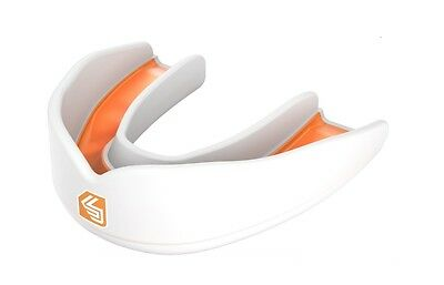 Shock Doctor Ultra Rugby Mouth Guard Gum Shield White Orange Boxing Martial Arts