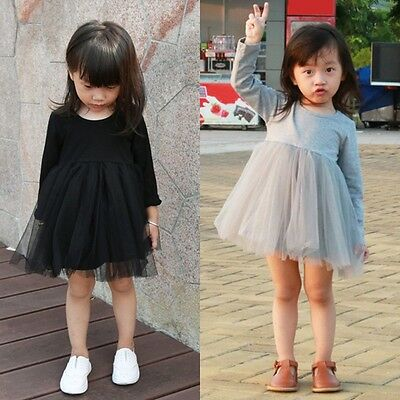Baby Girls Cotton Tulle Dress Long Sleeve/Sleeveless Lace Tutu Dress Skirt Dress