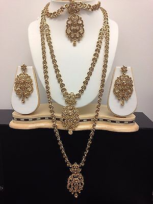 Latest Bollywood Indian Long Rani Necklace Earrings Tikka Jewellery Set Gold