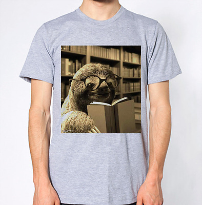Sloth Reading Book T-Shirt Geek Nerd Library Top