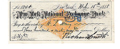1883 Antique Check  The New York National Exchange Bank  With Revenue