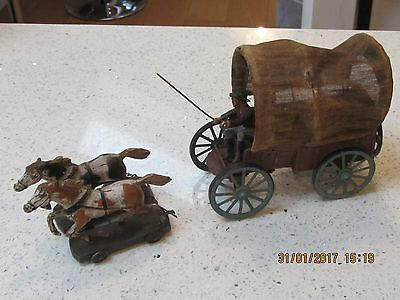 Elastolin 1920 Covered Wagon & Driver/Cowboy & 2 Horse Team- EXC. ALL ORIGINAL