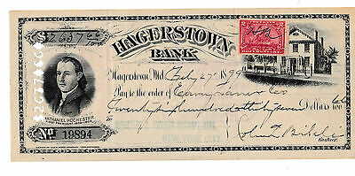 1899 Antique Check  Hagerstown Bank, Maryland  With Revenue & 2 Vignettes