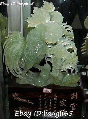 "16""Rare Chinese Natural Green Jade Wealth Money Coin Chicken Rooster Cock Statue"