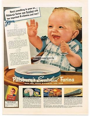 1942 Pillsbury Enriched Farina Vtg Ad Baby High Chair