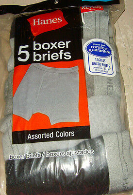 NEW NIP underwear Hanes boys M L or XL Boxer Briefs 5 pack blacks and grays