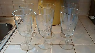 6 Antique Crystal Etched Delicate Wine Glasses