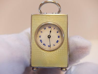 Antique Sterling Silver Guilloche & Enamel Sub Miniature 8 Day Carriage Clock