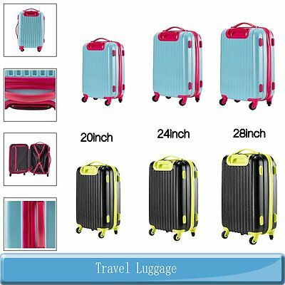 "20"" 24"" 28"" Travel Luggage Set Bag ABS Trolley Spinner Suitcase Trolley Carry On"