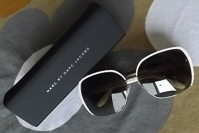 NEW Marc by Marc Jacobs Womens Ivory White & Gold Sunglasses w Case AUTHENTIC