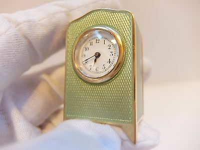 Antique Sterling Silver, Guilloche & Enamel Sub Miniature 8 Day Carriage Clock