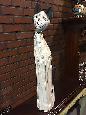 "32.5"" Tall Wooden Cat Hand Carved Hand Painted Hand Crafted"