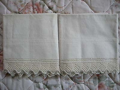 Antique White/Off-White Cotton Pillowcases Pair Handmade Lace Trim