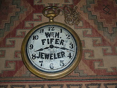 Antique Vintage pocket watch Advertising Trade Sign Store Display Double Sided