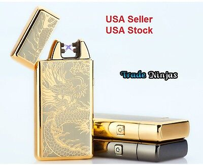 Electric Dual Arc Flameless USB Rechargeable Windproof Lighter Gold Dragon