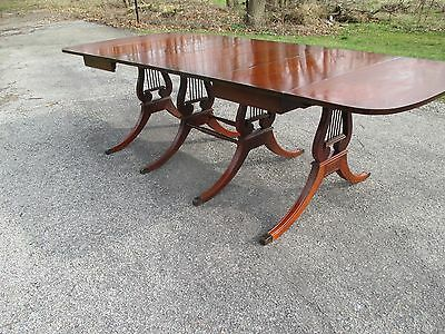 Vintage Duncan Phyfe Mahogany Drop Leaf Dining Table Music Note Under Gallery.