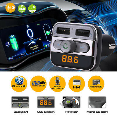Hot Bluetooth Car Kit Wireless FM Transmitter Dual USB Charger Audio MP3 Player