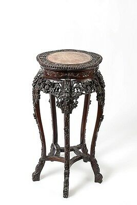Antique Chinese Rosewood Marble Top Stand/Display Table/Lamp/Fern Table