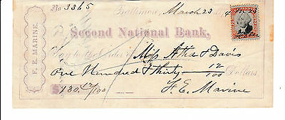 1874  Second National Bank, Baltimore, Maryland    Revenue