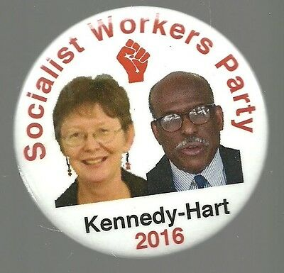 Kennedy And Hart Socialist Workers Party 2016 Political Campaign Pin Button