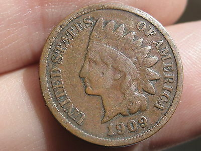 1909 Indian Head Cent Penny, VG/Fine Details, Full Obverse Rims