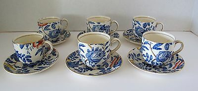 Six (6) English Peony and Rose Demitasse Cups and Saucers by Myott, Son & Co.