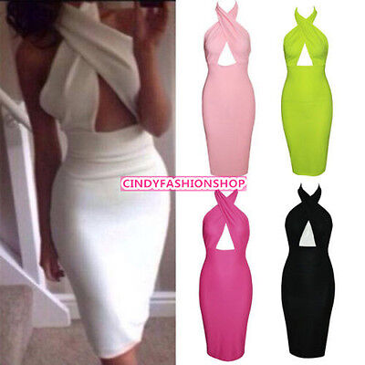 USA Ladies  Sexy Backless Cross Halter  Bodycon Evening Party Clubwear  Dress