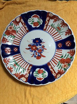 19th Centruy Imari Charger Large Plate Red & Blue Scalloped Edge