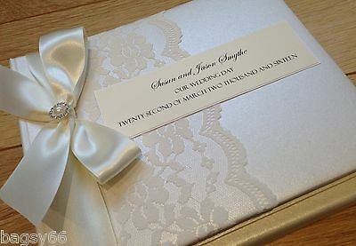 Luxury Vintage Style Photo Album Personalised in Box Lace Wedding Engagement