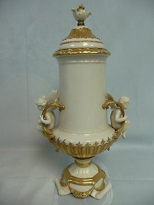 ANTIQUE GERMAN PORCELAIN COVERED URN w/GOLD TRIM - CHERUB & FAIRY AT THE HANDLES