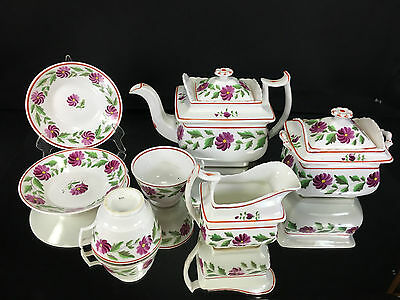 English Porcelain Tea Set ca. 1820 Hand Painted Flowers