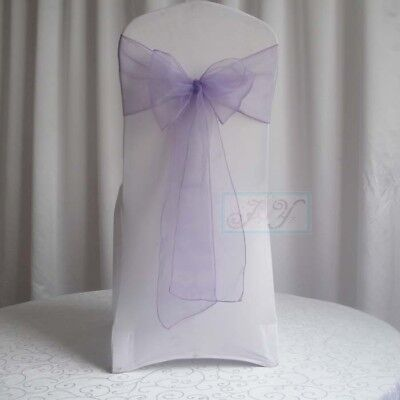 200x Lavender Organza Sheer Chair Sashes Wedding Banquet Party Events Decoration
