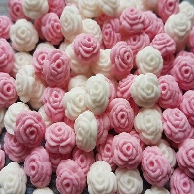 200 Edible Sugar Tiny Roses Pink White Cake Cupcake Toppers Decorations