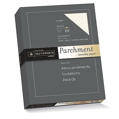 Southworth Parchment Specialty Paper 8.5 x 11 inches 32.lb Ivory 250 per Box ...