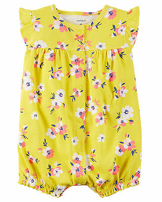 Carters Newborn 3 6 9 12 18 24 Months Floral Cotton Romper Baby Girl Clothes
