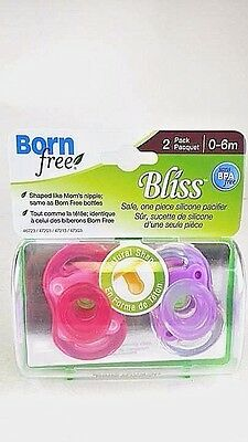 "Born Free ""Bliss Natural Shape"" 2-PACK Pacifier GIRLS"