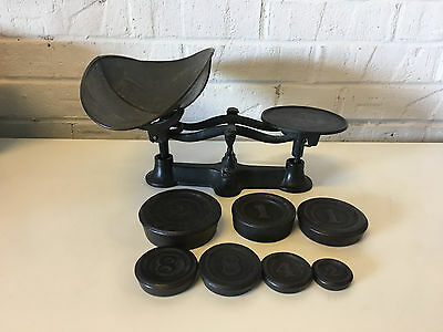 Vintage Antique Cast Iron Counter Scale w/ 7 Weights