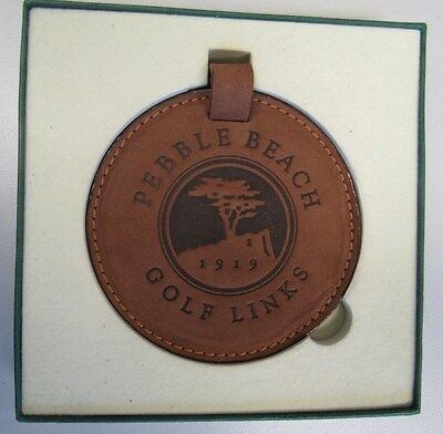 New! Sophisticated Brown Leather Covered Pebble Beach Golf Links Bag Tag W/strap