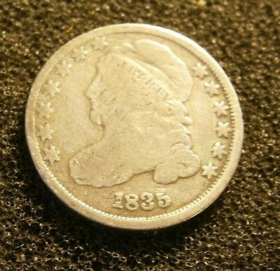 1835 Circulated Capped Bust Dime Partial Liberty #17-094