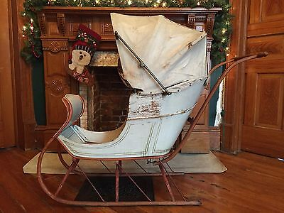 1800's VICTORIAN CHILD'S PUSH SLEIGH SLED PRAM CARRIAGE LANCASTER PA EXCEPTIONAL