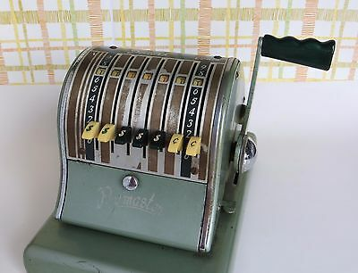Vintage Paymaster Checkwriter Series 600 with Nameplate and 2 year Bond 7 Column