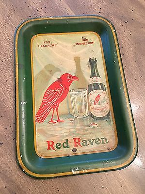 """Rare Antique Red Raven Splits """"For Headache Indigestion"""" Tin Tip Serving Tray"""