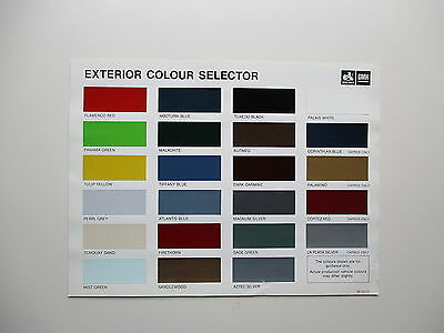 Holden Vc / Wb  Colour Card/chart Commodore Statesman Commercial