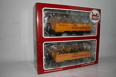 Lgb G Scale #39250 Set Of 2 Rhb Aussichtswagen Excursion Sightseeing Cars, Boxed