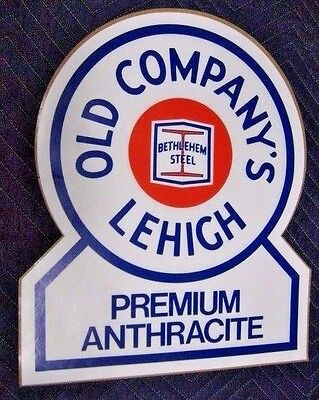 """Large 18"""" Nos Bethlehem Steel Old Company's Lehigh Anthracite Coal Sign Sticker"""