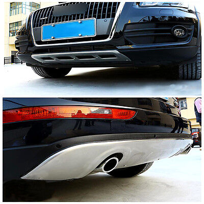 For Audi Q5 2008-2012 Stainless FrontRear Bumper Skid Protector Guard Plate Trim
