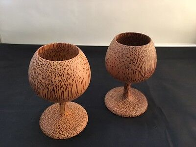 Natural Coconut Wood Wine Glass / Cups from Fiji (Fumigated & Treated) - 2 pcs.