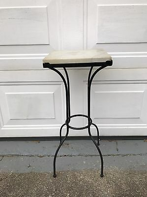 Vintage Wrought Iron And Marble Accent Table Plant Stand
